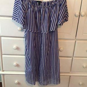 J Crew royal blue and white striped mini dress Med